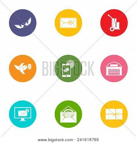 Send The Message Icons Set. Flat Set Of 9 Send The Message Vector Icons For Web Isolated On White Ba