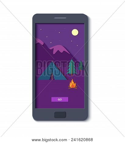 Evening Camp Whith Bonfire And Tent Forest And Rocky Mountains In Mobile Phone In Trandy Paper Cut S