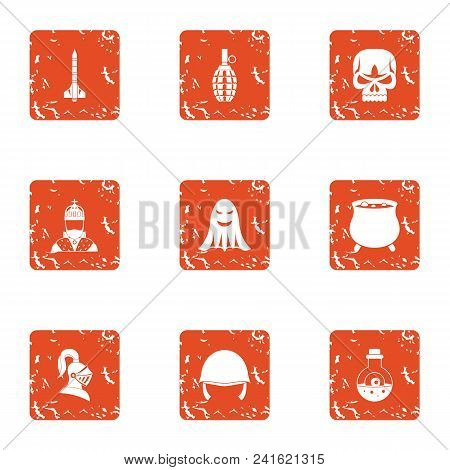 Military Equipment Icons Set. Grunge Set Of 9 Military Equipment Vector Icons For Web Isolated On Wh