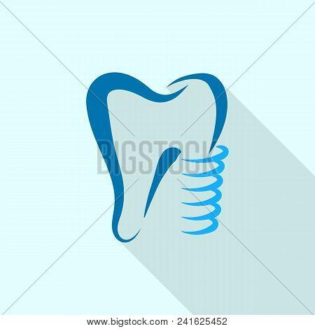Tooth Implant Logo Icon. Flat Illustration Of Tooth Implant Vector Logo Icon For Web Design