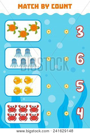 Counting Game For Preschool Children. Educational A Mathematical Game. Count Animals In The Picture