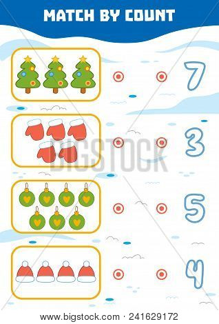 Counting Game For Preschool Children. Educational A Mathematical Game. Count Christmas Objects In Th