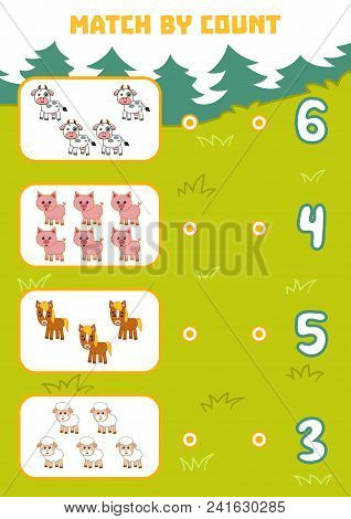 Counting Game For Preschool Children. Educational A Mathematical Game. Count Farm Animals In The Pic