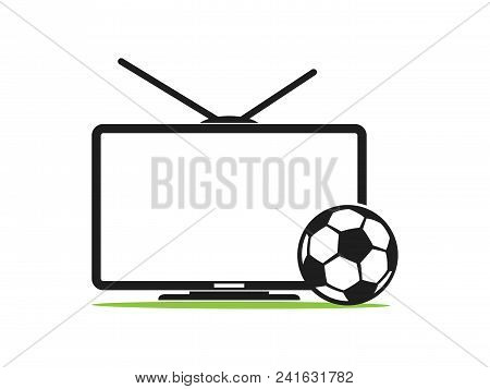 Soccer Tv Vector Icon In A Flat Style Isolated On White Background. Football Tv. Sports Tv. Tv With