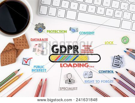 Gdpr. General Data Protection Regulation, Business Concept. Chart With Keywords And Icons. White Off
