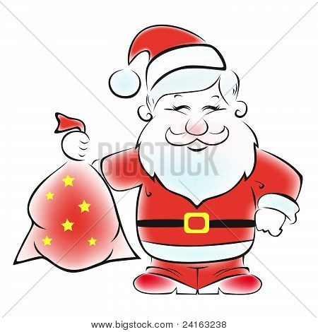 Santa with a sack of gifts.