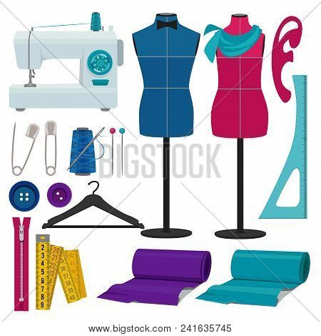 Illustrations For Tailor Shop. Sewing Tools For Hand Craft, Tailoring And Handmade Vector