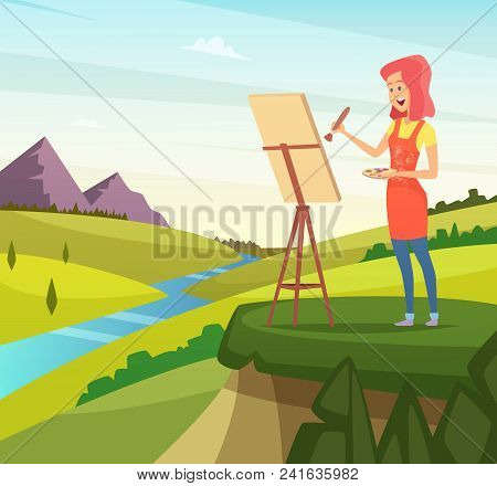 Artist In Nature Making Picture. Artist Paint Brush, Paintbrush Artistic, Painter And Easel, Vector