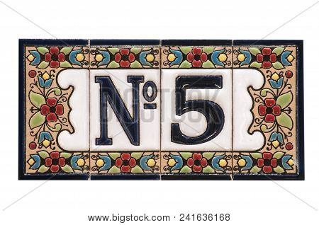 Weathered Grunge Square Faience Enameled Decorated Plate Of Number Of Street Address With Number 5 C