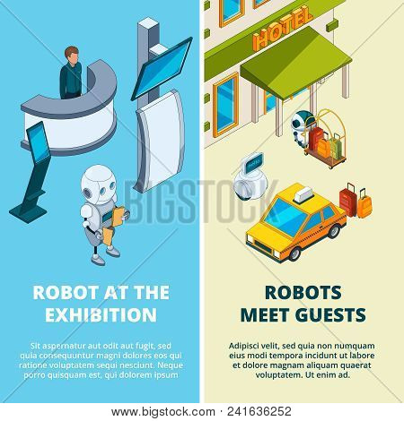 Concept Illustrations With Various Robots Assistant. Robot Help To Exhibition And Hotel, Equipment D