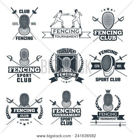 Monochrome Badges Set Of Fencing Sport. Vector Fencing Club Badge, Weapon Classical Competition Illu