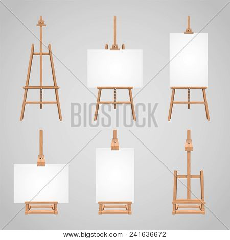 Set Illustrations Of Canvases Standing On Wooden Easels. Wood Blank Stand For Drawing, Equipment Tri