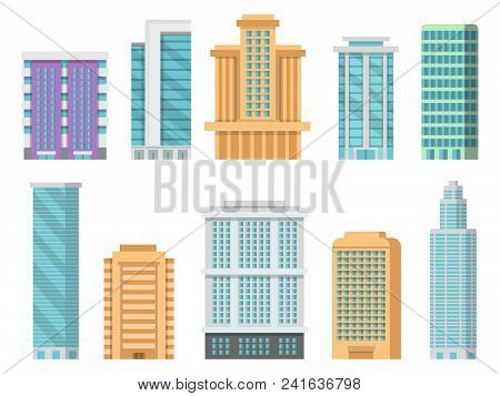 Flat Illustrations Of Various Modern Skyscrapers And Other Business Buildings. Skyscraper Urban Buil