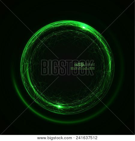 Abstract Background With Luminous Swirling Backdrop. Intersection Curves. Glowing Spiral. The Energy