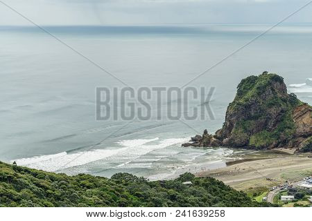 Aerial View Of Beach And Rocky Cliff On Cloudy Day, Piha Beach, New Zealand