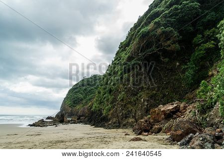 Dramatic Shot Of Green Cliff On Ocean Coastline On Cloudy Day, Piha Beach, New Zealand