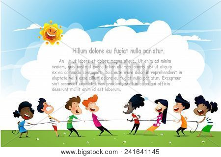 Fun Cartoon Boys And Girls Pulling Rope. Concept Illustration Of Sports Activity For Kids. Vector Ca