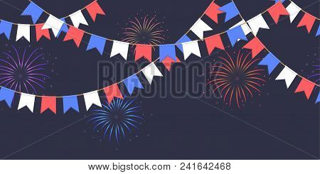 Seamless Garland With Celebration Flag Chain, White, Blue, Red Pennons And Salute On Dark Background
