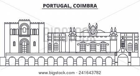 Portugal, Coimbra Line Skyline Vector Illustration. Portugal, Coimbra Linear Cityscape With Famous L