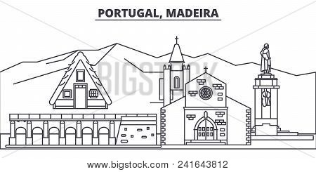 Portugal, Madeira Line Skyline Vector Illustration. Portugal, Madeira Linear Cityscape With Famous L