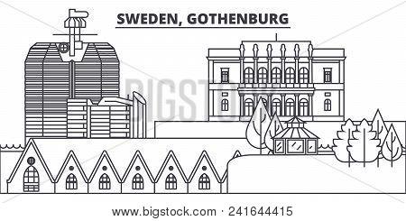 Sweden, Gothenburg Line Skyline Vector Illustration. Sweden, Gothenburg Linear Cityscape With Famous