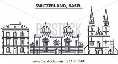 Switzerland, Basel  Line Skyline Vector Illustration. Switzerland, Basel  Linear Cityscape With Famo