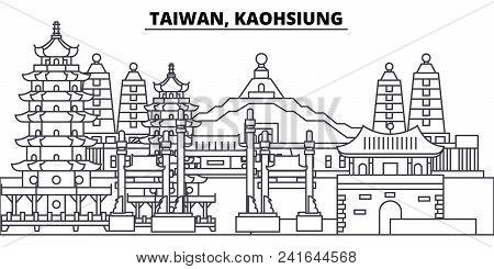 Taiwan, Kaohsiung Line Skyline Vector Illustration. Taiwan, Kaohsiung Linear Cityscape With Famous L