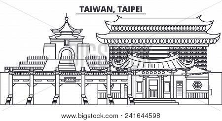 Taiwan, Taipei Line Skyline Vector Illustration. Taiwan, Taipei Linear Cityscape With Famous Landmar