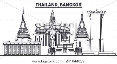 Thailand, Bangkok Line Skyline Vector Illustration. Thailand, Bangkok Linear Cityscape With Famous L