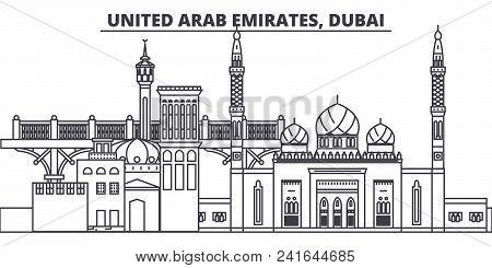 United Arab Emirates, Dubai Line Skyline Vector Illustration. United Arab Emirates, Dubai Linear Cit