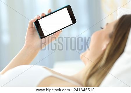 Close Up Of A Woman Hand Using A Phone Showing Mockup Screen