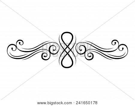 Floral Swirl. Calligraphic Decorative Elements. Page Divider, Border. Vintage Flourish Style. Orname