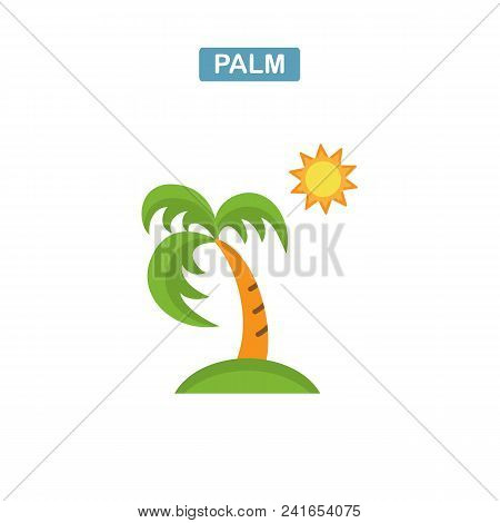 Palm Tree And Sun Icon. Coconut Palm Tree Sign. Travel Or Vacation Symbol. Flat Icon On White Backgr