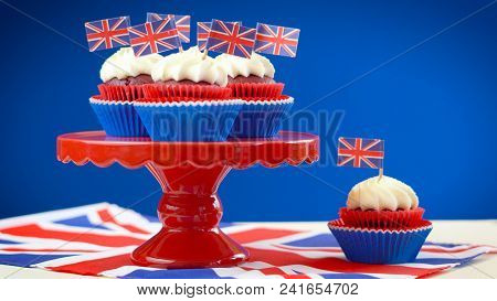 Red White And Blue Theme Cupcakes And Cake Stand With Uk Union Jack Flags
