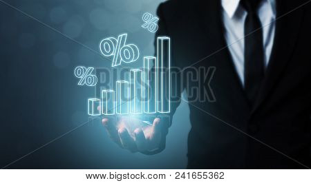 Interest Rate Financial And Mortgage Rates Concept. Businessman Hand Show Icon Percent 3d Sign With