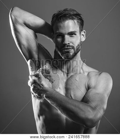 Bearded Macho, Guy With Strong Muscles Taking Shower. Starting Day. Sexy Macho, Man, Muscular Attrac