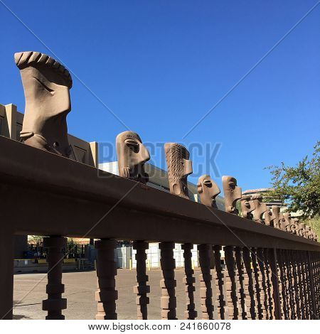 Phoenix, Az, Usa -  December 8, 2017: Backyard Fence Of Phoenix Convention Center Topped With Row Of