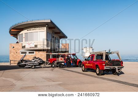 Encinitas, California - April 14, 2018:  Emergency Rescue Vehicles Parked At The Marine Safety Cente