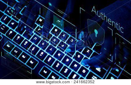 Closeup of a keyboard in ultraviolet light