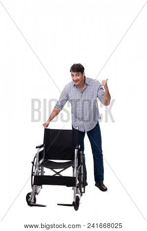 Caregiver with wheelchair isolated on white