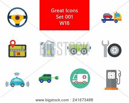 Car Icon Set. Steering Wheel Tire Electric Car Spanner And Car Wheel Petrol Jerrican Electrocart Tow