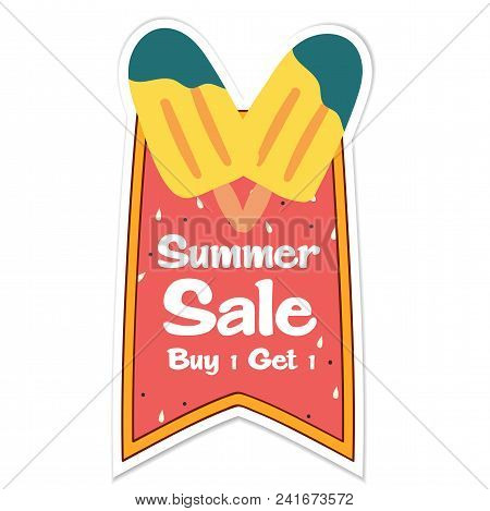 Summer Sale Buy 1 Get 1 Ribbon Ice Cream Background Vector Image