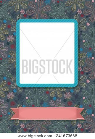 Graceful Greeting Card. Geometric Floral Pattern. Blue Frame For Custom Photo. Pink Banner For Custo