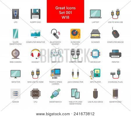 Set Of 33 Vector Icons Representing Various Electronic Devices And Gadgets