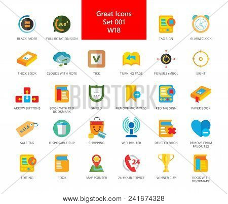 Set Of 33 Flat Vector Icons Representing Computer And Mobile Devices Interface Concept