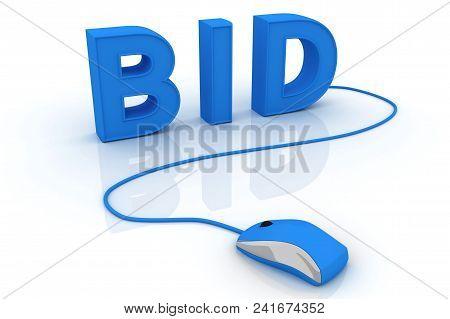 Bid Concept. Conceptual Image. 3d Image Renderer