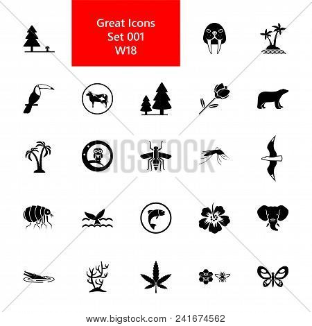 Icon Set Of Animals And Plants. Wildlife, Species Diversity, Environment. Nature Concept. For Topics