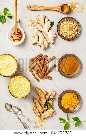 Healthy Drinks - Turmeric Tea Or Golden Turmeric Latte. Top View, Flat Lay