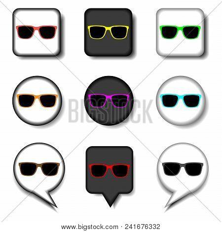 Vector Icon Illustration Logo For Set Symbols Beach Sunglasses To The Sea. Sunglasses Pattern Consis