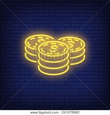 Dollar Coin Stacks On Brick Background. Neon Style Illustration. Savings, Money, Income. Currency Ba